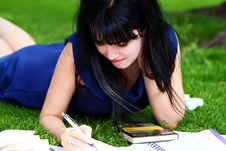 Free Beautiful Girl Studying In Park Royalty Free Stock Image - 20826276