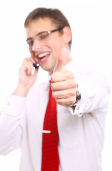 Businessman Shows OK Sign While Calling By Phone Stock Photography