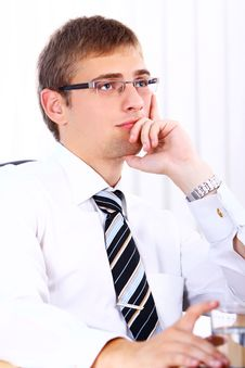 Free Thinking Businessman In Office Royalty Free Stock Images - 20826419