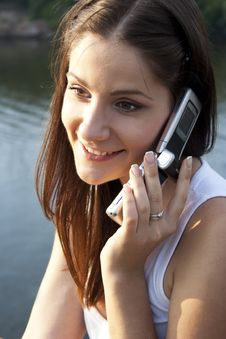 Free Adult Girl Talking On The Phone Royalty Free Stock Image - 20826426