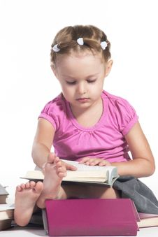Free Little Girl With Books Royalty Free Stock Image - 20827196