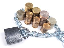Free Coins And Lock Stock Photo - 20827350