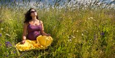 Free Pregnant Woman On Green Grass Field Under Blue Sky Stock Image - 20827381