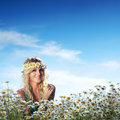 Free Girl On The Daisy Flowers Field Stock Photography - 20833242
