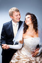 Free Just Married Groom And Bride On Blue Royalty Free Stock Photos - 20835578