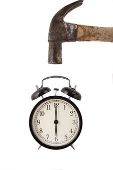 Free Hammer About To Smash Alarm Clock, Royalty Free Stock Photos - 20830698