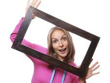 Woman Holding Blank Frame Stock Photos
