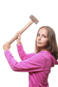 Woman With Hammer Royalty Free Stock Images