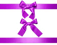 Free Multiple Violet Horizontal Ribbon With Bow Stock Photo - 20831920