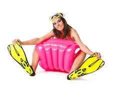 Free Girl On Beach Mattress Stock Photography - 20832292