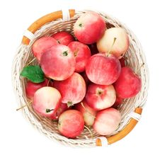 Free Red Mini Apples In Basket Stock Photography - 20832602
