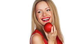Free Woman And Red Apple Stock Image - 20832681