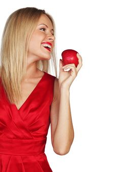 Free Woman And Red Apple Stock Photos - 20832693