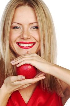 Free Woman And Red Apple Royalty Free Stock Images - 20832699