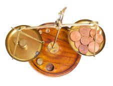 Brass Scales Of Justice. Stock Photos