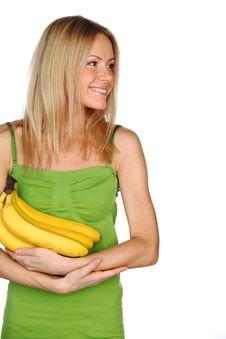 Woman And Bananas Stock Photos