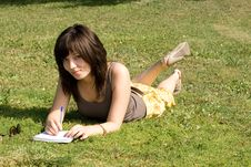 Free Girl Lying On Grass Stock Photos - 20832773