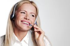 Free Business Woman In A Headset Royalty Free Stock Photo - 20833055