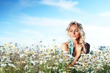 Free Girl On The Daisy Flowers Field Royalty Free Stock Image - 20833256