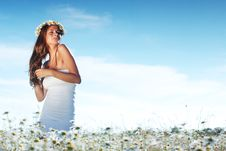 Free Girl In Dress On The Daisy Flowers Field Stock Photography - 20833292