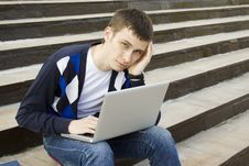 Free Young Student Working On A Laptop Royalty Free Stock Image - 20833536