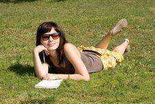 Free Girl Lying On Grass Stock Photos - 20833753