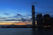 Free Hong Kong Commercial Building With Sunset Stock Images - 20833764