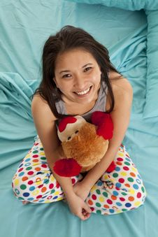 Pajamas Bear Top View Happy Royalty Free Stock Photography