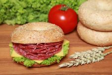 Free Bagel With Salami Stock Image - 20834501