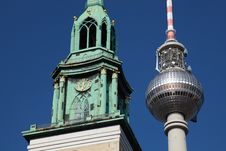 Berlin TV Tower And Nikolai Church Royalty Free Stock Photo