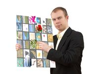 Free Man With Multimedia Tablet Royalty Free Stock Photos - 20835068