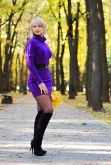 Free Beautiful Young Girl In Autumn Scenery Stock Photography - 20835322