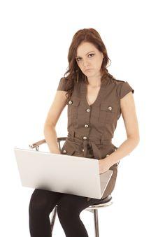Free Woman Brown Shirt Laptop Sad Stock Photo - 20835730