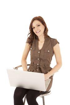 Free Woman Brown Shirt Laptop Smile Stock Photography - 20835732