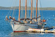 Antique Sailboat Moored At The Pier. Royalty Free Stock Photo