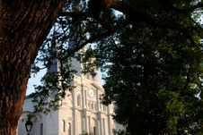Saint Louis Cathedral Through Oaks Royalty Free Stock Photography