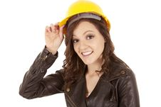 Free Woman Yellow Hat Hold Royalty Free Stock Photos - 20836748