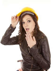 Free Woman Yellow Hat Shocked Stock Photography - 20836752