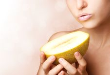 Free Beautiful Woman With Melon Stock Images - 20836754