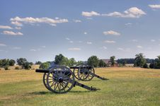 Free Two Civil War Era Cannons In Open Field Royalty Free Stock Photos - 20837838