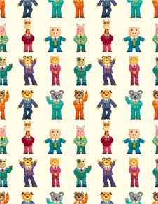Cartoon Animal Seamless Pattern Stock Photo