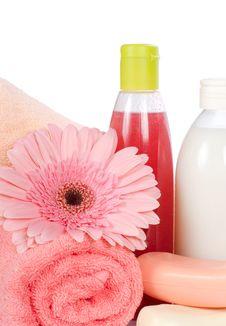 Pink Gerbera And A Towel Stock Image