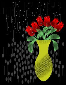 Free Abstract Roses In The Rain. Vector / Cliip Art Royalty Free Stock Photos - 20838808