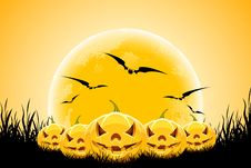 Free Halloween Background With Pumpkins Moon And Grass Royalty Free Stock Photography - 20838997