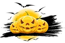 Halloween Background With Pumpkins Moon And Bats Royalty Free Stock Photos