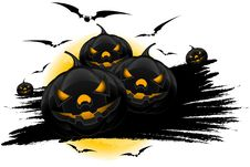Free Halloween Background With Pumpkins Moon And Bats Royalty Free Stock Photography - 20839007