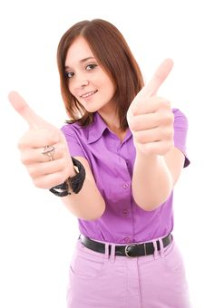 Free Confident Business Woman Showing Thumbs Up Royalty Free Stock Images - 20839389