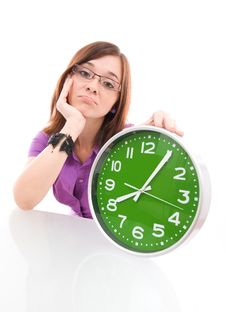Free Big Green Clock Royalty Free Stock Image - 20839396