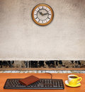 Free Keyboard On Desk And A Business Clock In Old Room Royalty Free Stock Image - 20848936