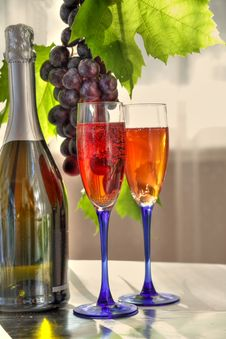 Free Red Wine In Glasses And Grapes Stock Photos - 20840263